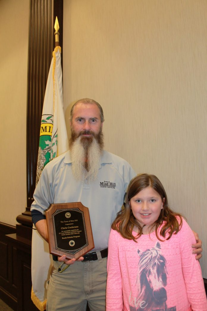 Mint Hill Public Works Operations Manager Chris Cochrane, with daughter Shelby