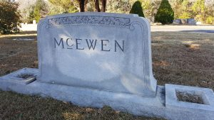 McEwen family monument in Evergreen Burial Park in Mint Hill.