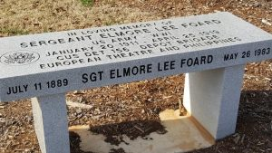 This,memorial bench is dedicayed to the memory of Sgt. Elmore Lee Foard...a WWI veteran