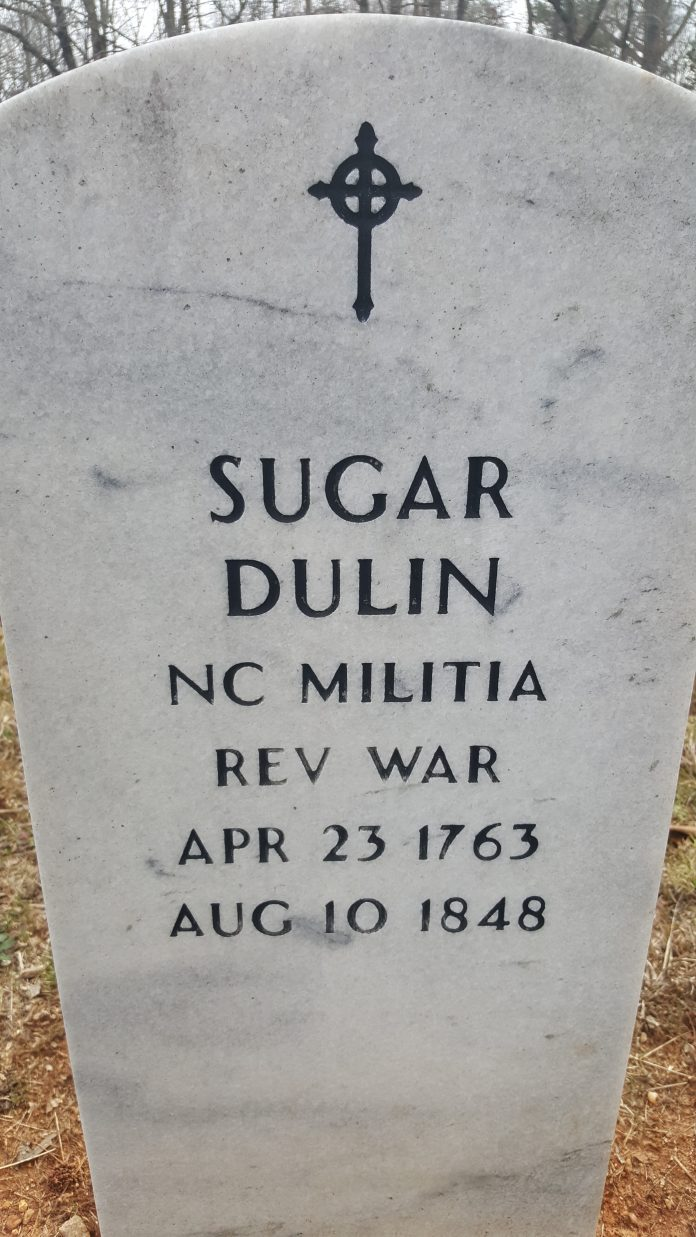 This monument to Sugar Dulin is located in the South Cemetery at Philadelphia Presbyterian Church.