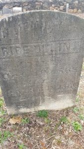 Rice Dulin is buried next to Sugar Dulin He died Oct. 10, 1868, at the age of 65 years, 9 months, and 26 days.