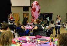 The MOMS Club of Mint Hill celebrated Valentine's Day in Arlington Baptist Church's Family Life Center.
